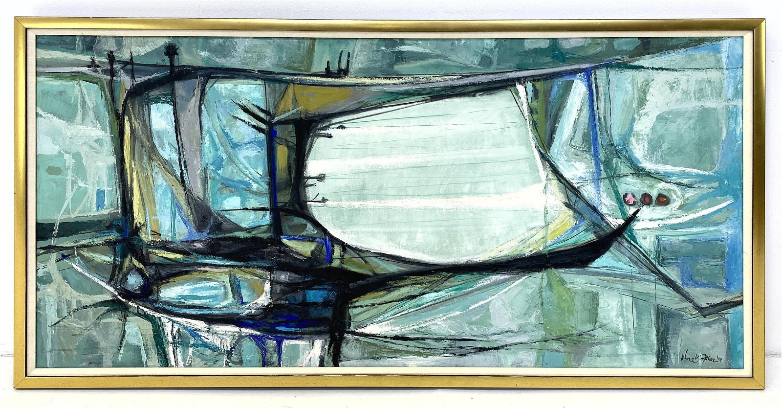 JOHN NARTKER Large Abstract Oil Painting on Canvas. Blu