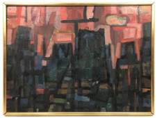 SEYMOUR TUBIS Modernist Abstract Oil on Canvas Painting