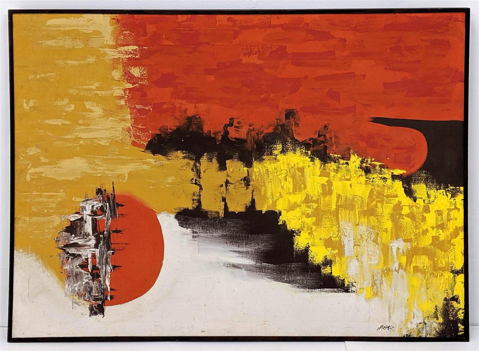 Signed HARPER Modernist Abstract Oil Painting. Orange,