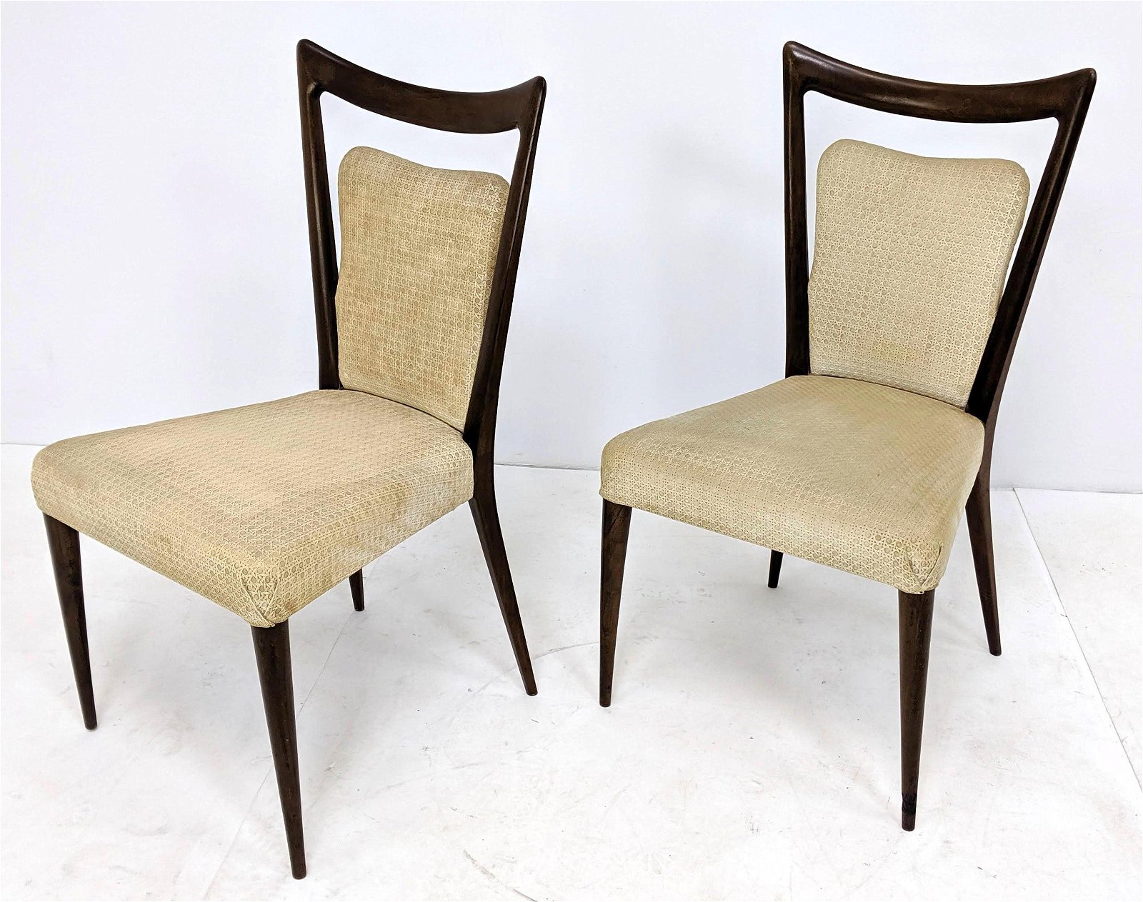 Pr MELCHIORRE BEGA Italian Chairs.  Elegant Wood Frame
