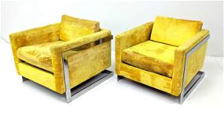 Pr Milo Baughman Style Lounge Chairs. Yellow Fabric wit