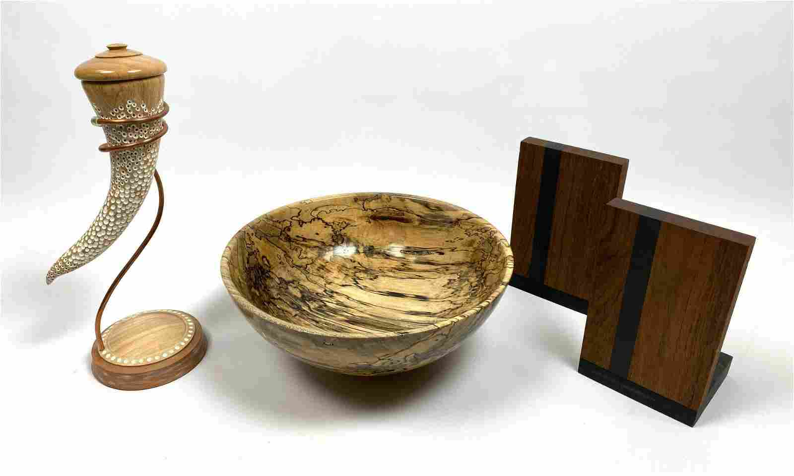 3pc Modernist Wood Objects. 1) PAUL EVANS & PHILIP POWE