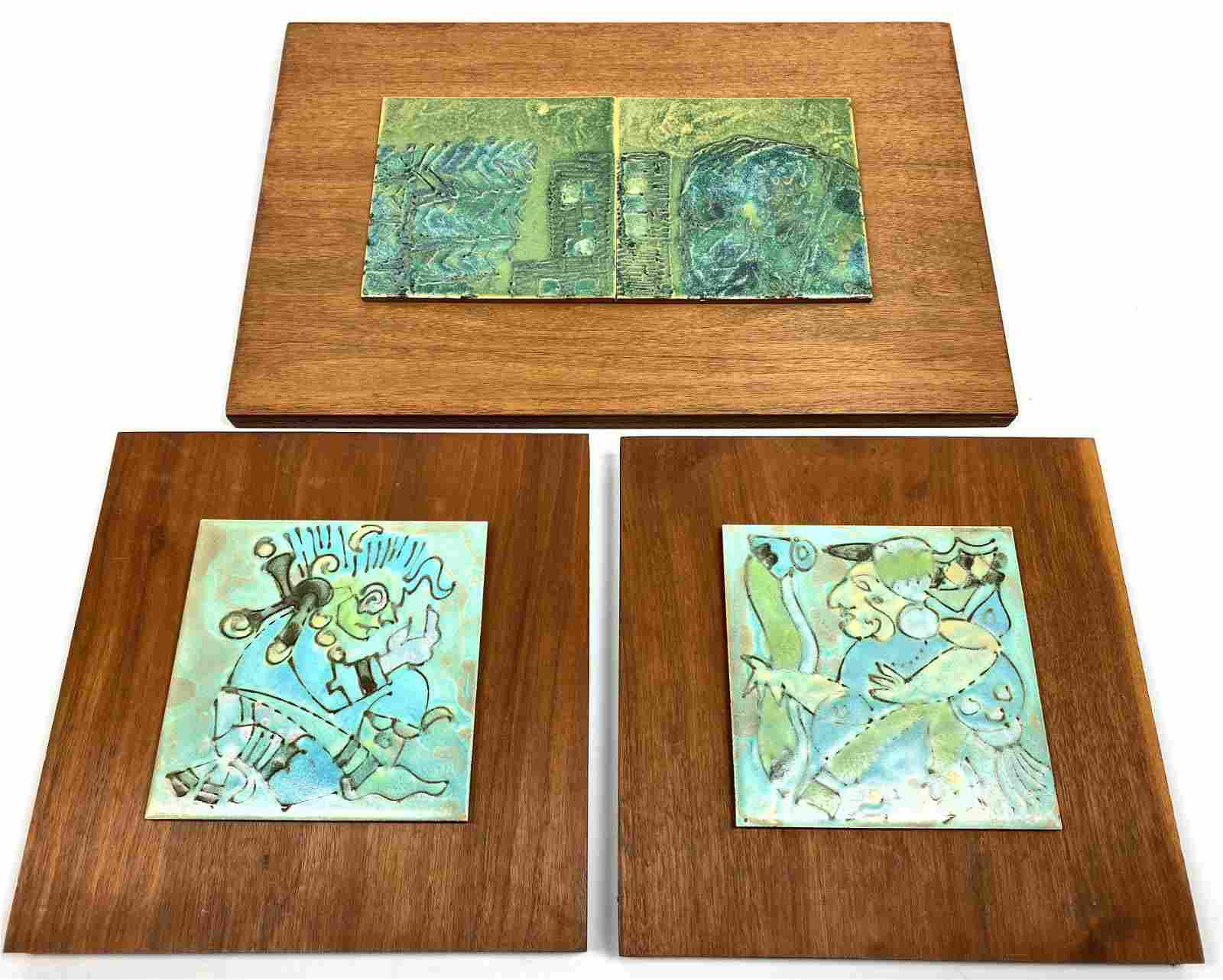 3pc Harris Strong attributed Glazed Ceramic Tiles Panel