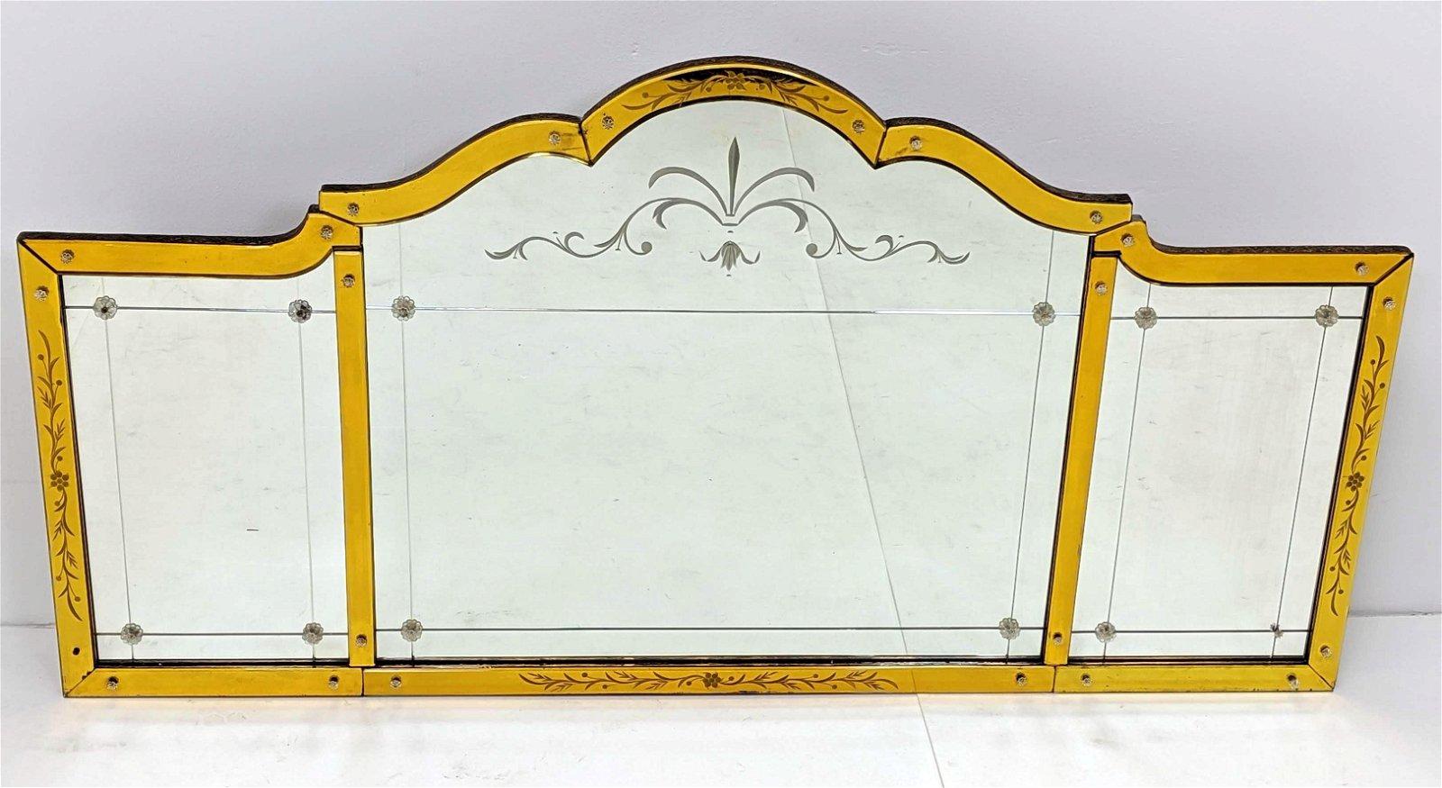 Three Section Hollywood Regency Wall Mirror. Yellow Gol