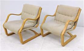 Pr Alvar Aalto Style Laminated Plywood Lounge Chairs B
