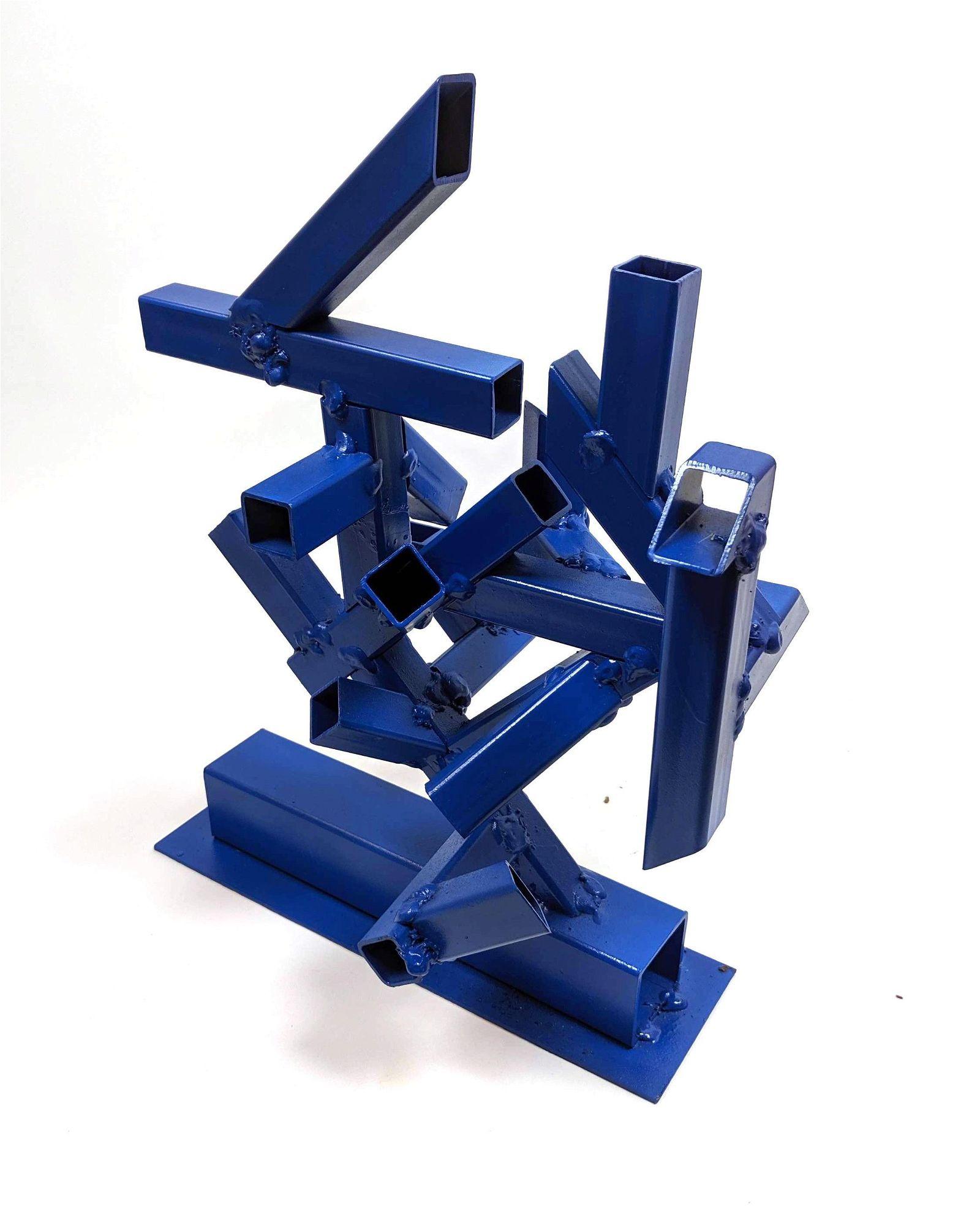 "JOSEPH SELTZER Welded Modernist Sculpture. ""Blue Square"