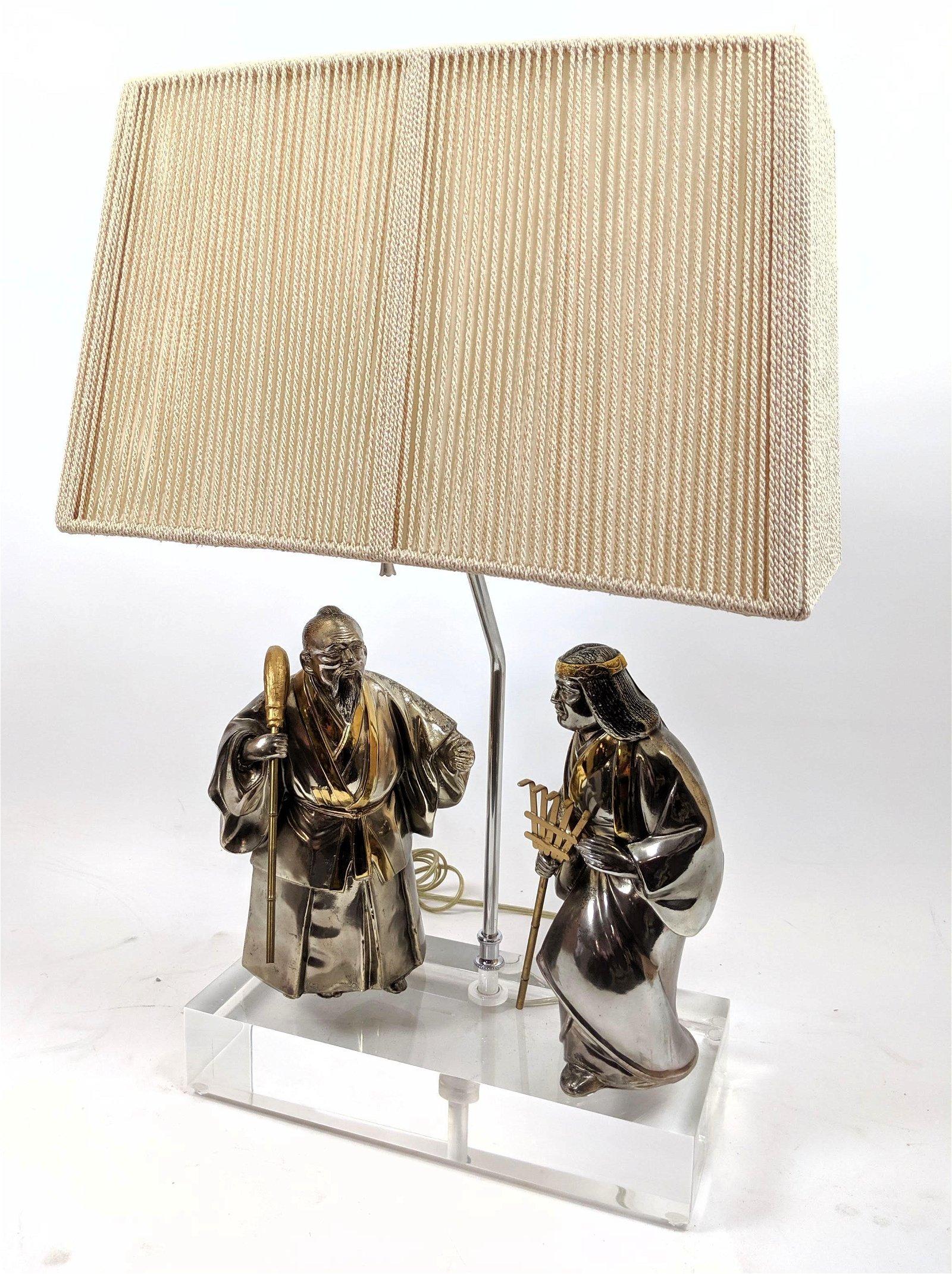 Asian Figural Metal Table Lamp. Mixed metal Asian figur
