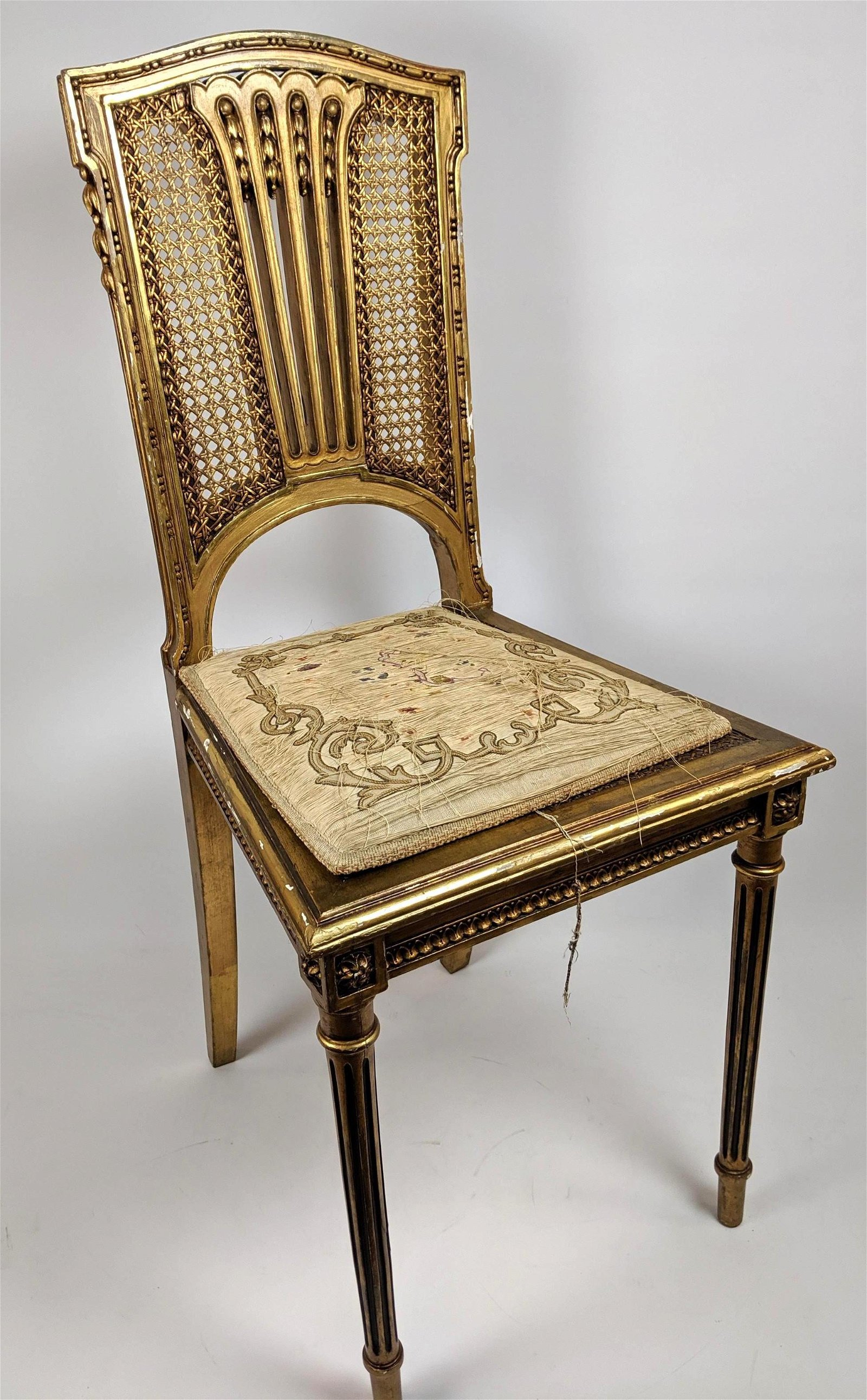 Vintage Gilt Carved Wood French Side Chair. Fancy carve