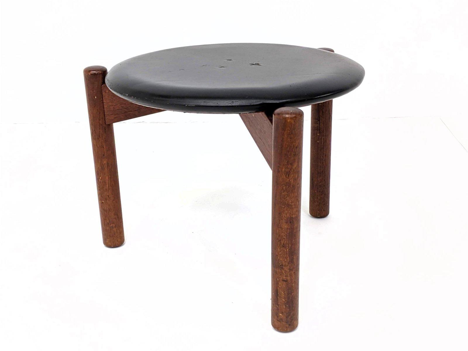 Danish Modern Round Black Vinyl Top Wood Stool. Three c
