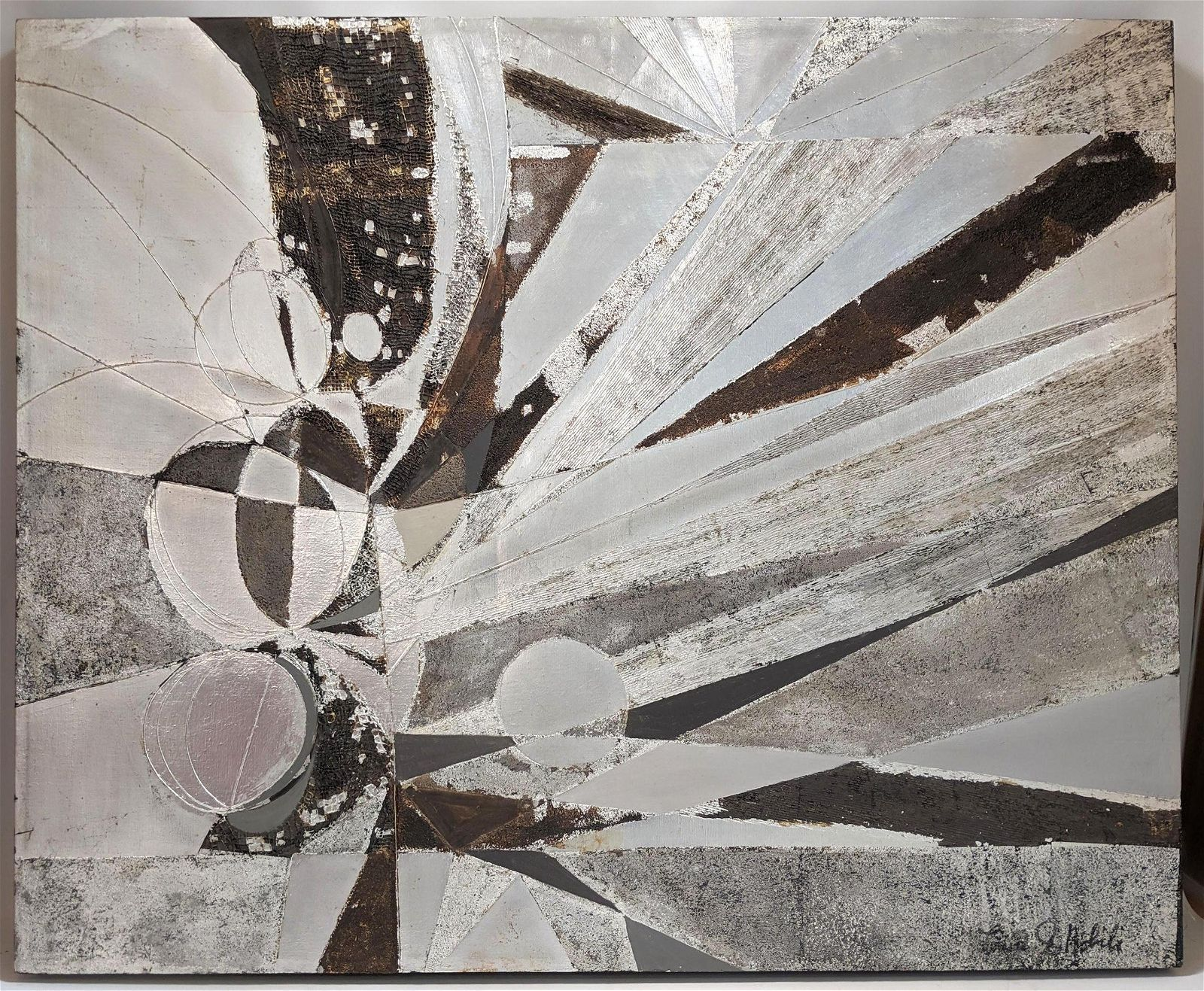 Large signed Silver Metallic Modernist Abstract Paintin
