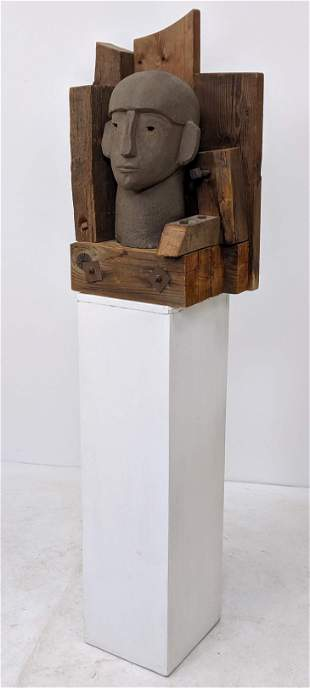 Industrial Style Pottery & Wood Sculpture on Painted wh