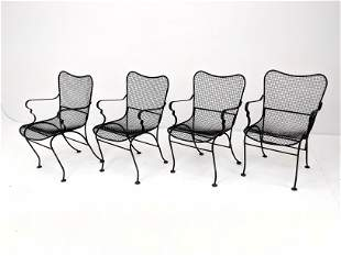 Set 4 RUSSELL WOODARD Arm Chairs. Mesh seats and backs
