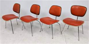 Set 4 HERMAN MILLER Side Chairs. Orange vinyl upholster