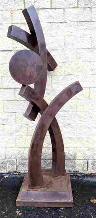 Large Modernist Sheet Steel Sculpture. Curved form with