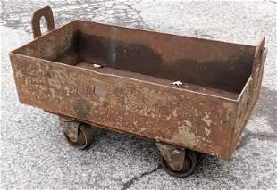 Heavy Industrial Iron Bin on Rolling Cart. Handled stee
