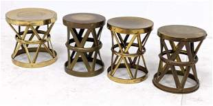 4 pcs Sarreid Style Brass Stools. Strapped x bases; one