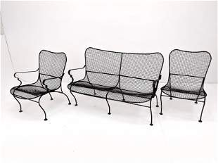 3pc RUSSELL WOODARD Patio Set. Love seat with arms, one