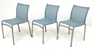 """Set 3 ALBERTO MEDA """"Alias"""" Mesh Stacking Chairs."""