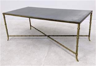 Bagues Style Brass Coffee Table. Faux bamboo with inset