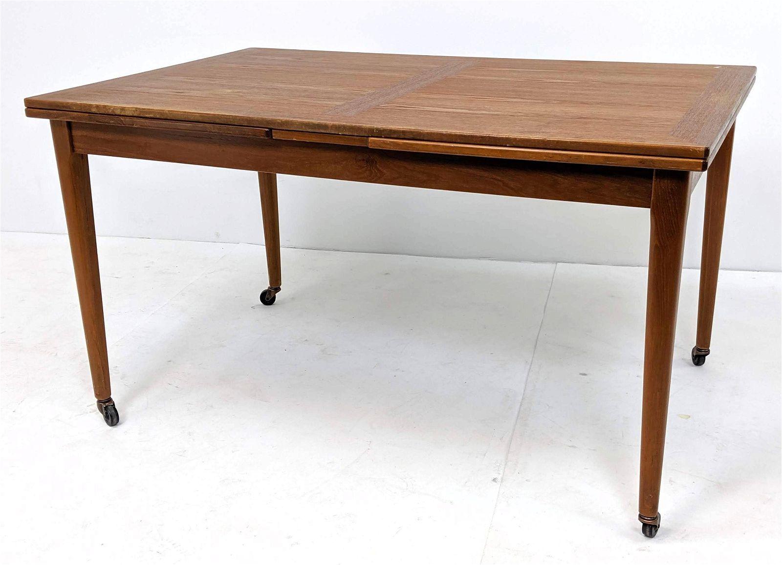 SKOVBY Danish Modern Teak Refractory Dining Table. Tape