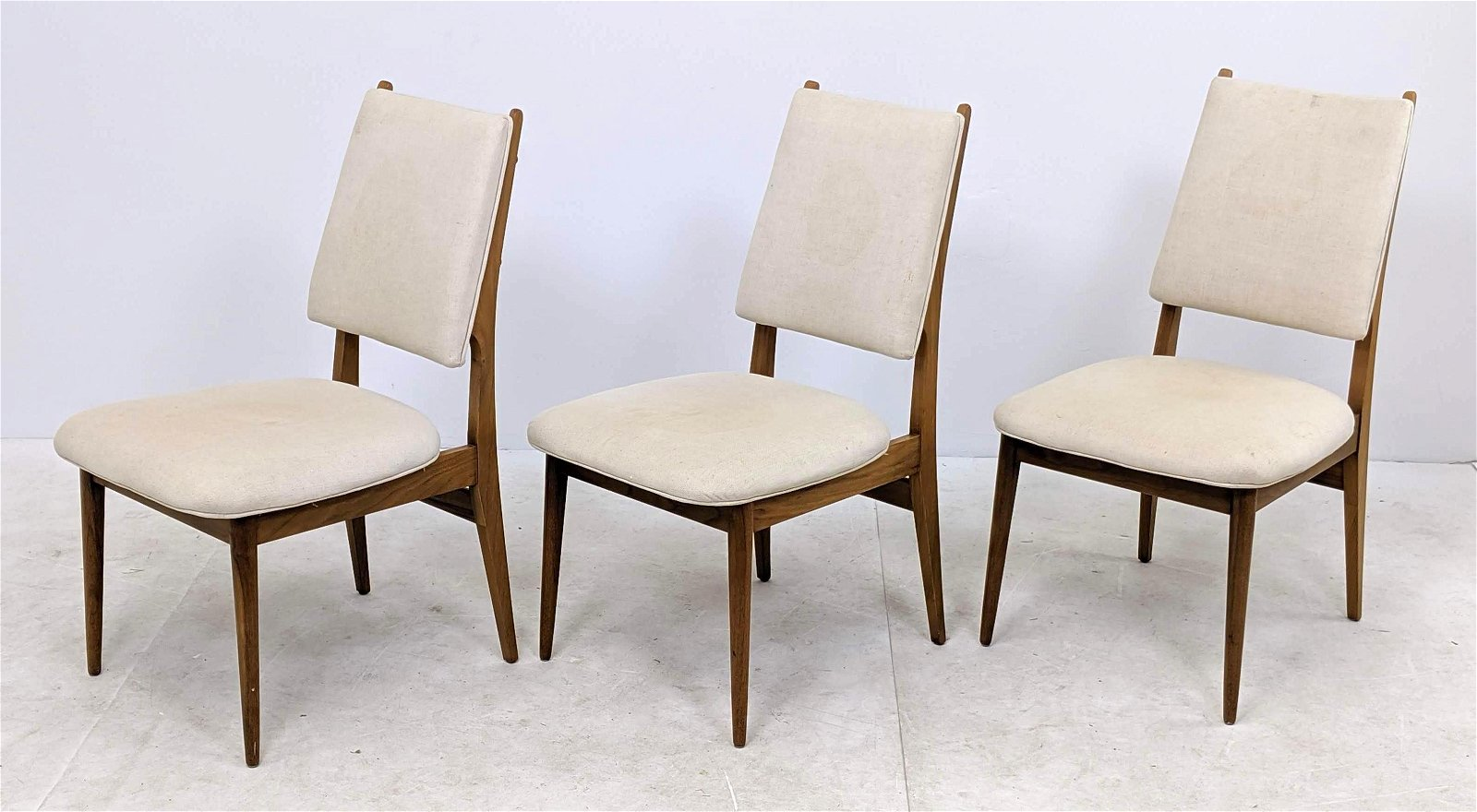 3pc Danish Modern Teak Upholstered Dining Chairs. Off w