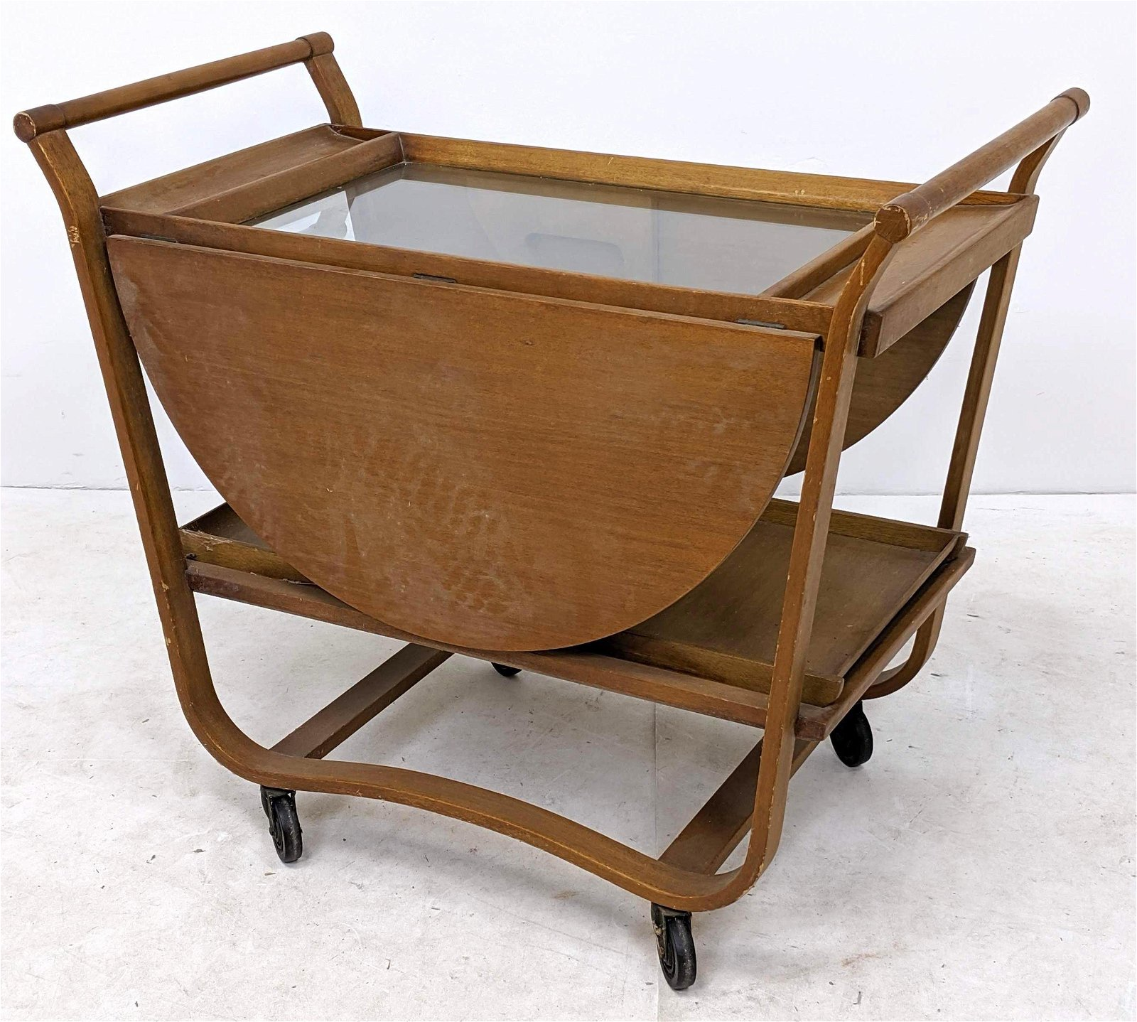 EDWARD WORMLEY for DUNBAR Rolling Tea Bar Cart. Bent wo