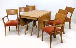 7pc Maple Dining Table Chair Set. HEYWOOD WAKEFIELD Dro
