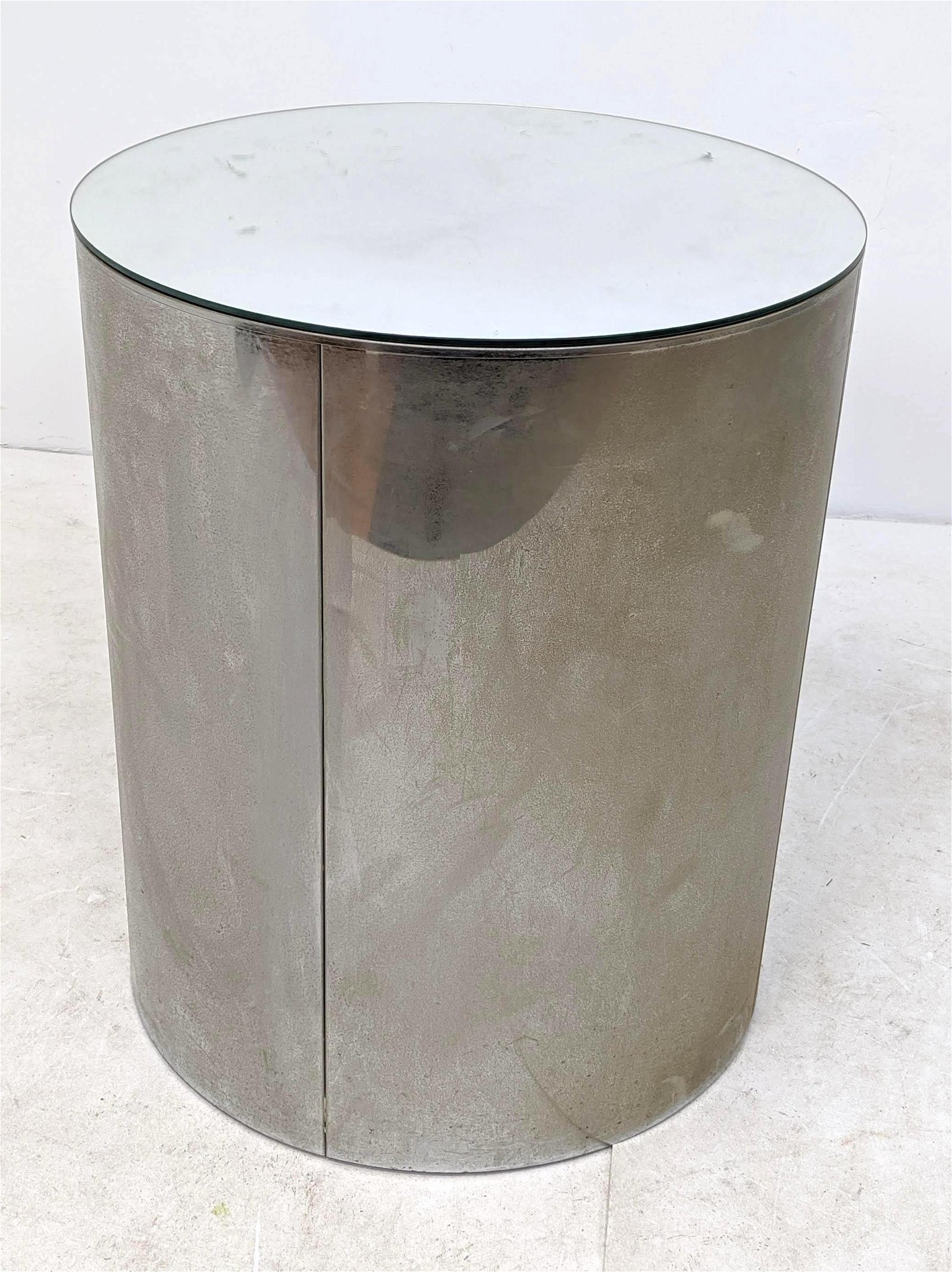 Modernist Chrome and Mirrored Glass Pedestal Side Table