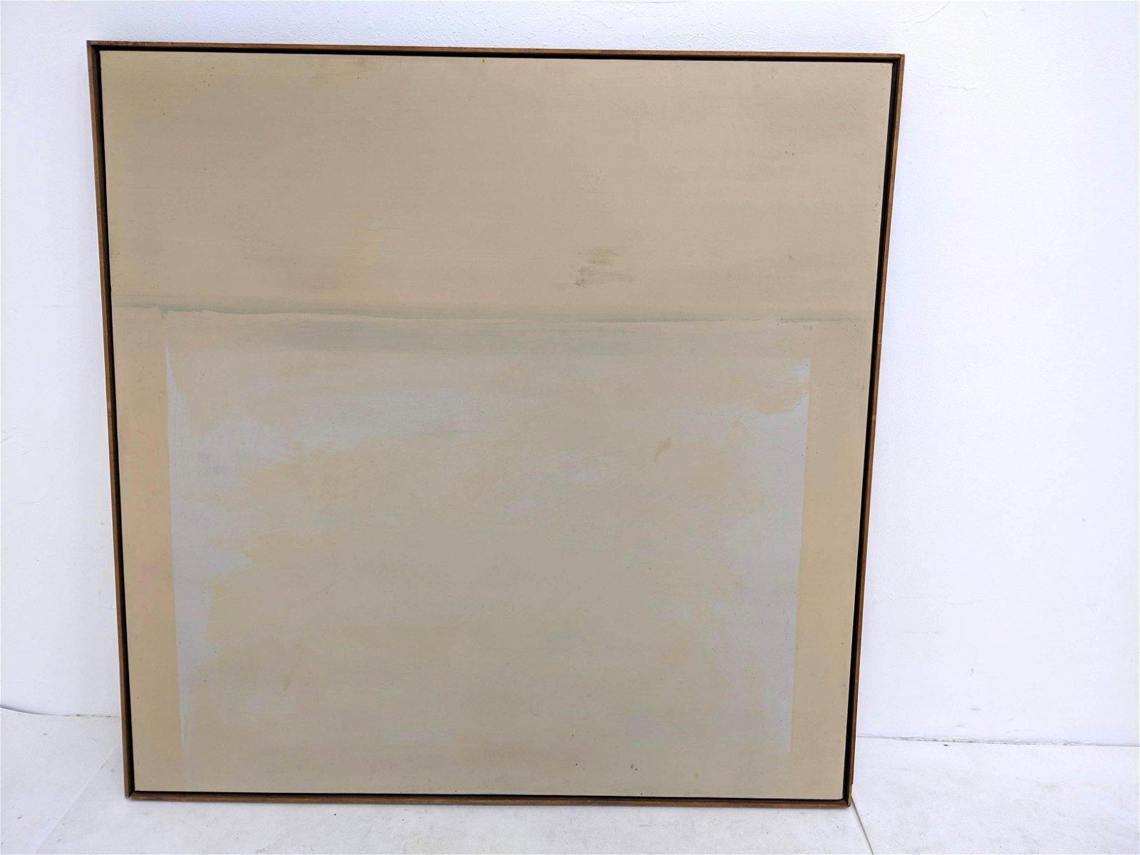 P WILSON 1974 Minimalist Abstract Oil on Canvas. Neutra
