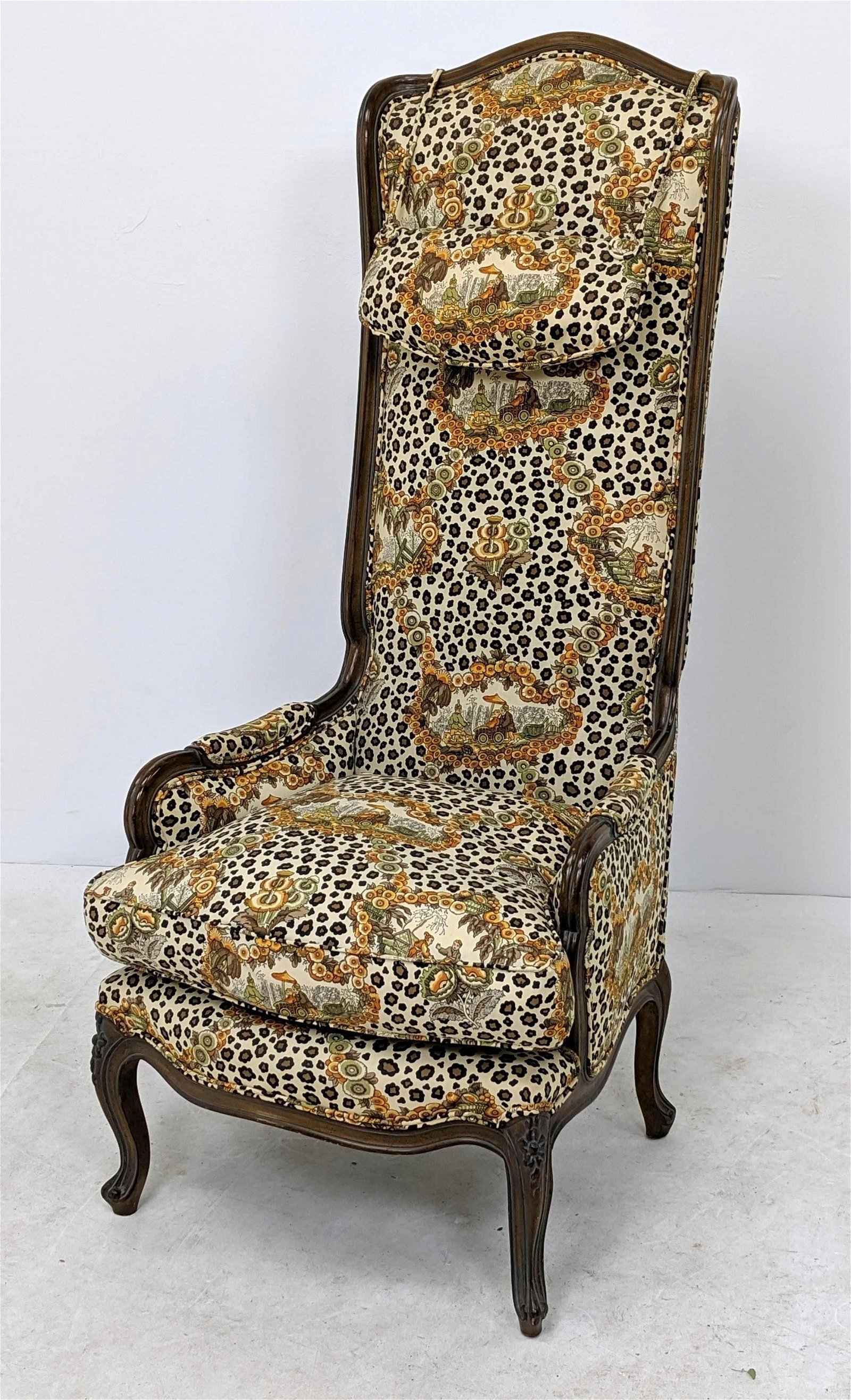Tall Back Country French Style Arm Chair. Playful anima