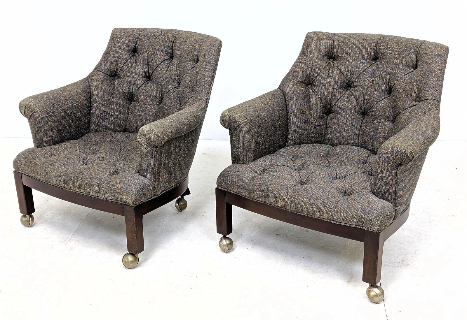 Pr American Modern Tufted Arm Club Chairs. Heather upho