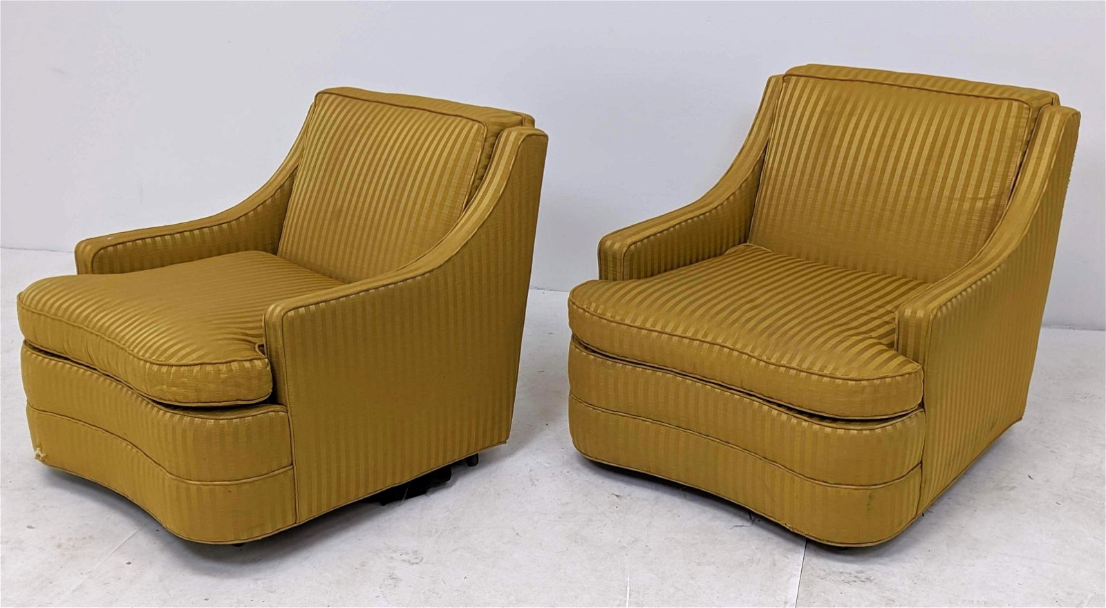 Pr CENTURY Rolling Arm Club Chairs. Striped mustard uph