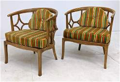Pr Dorothy Draper Style Lounge Chairs Barrel backed S