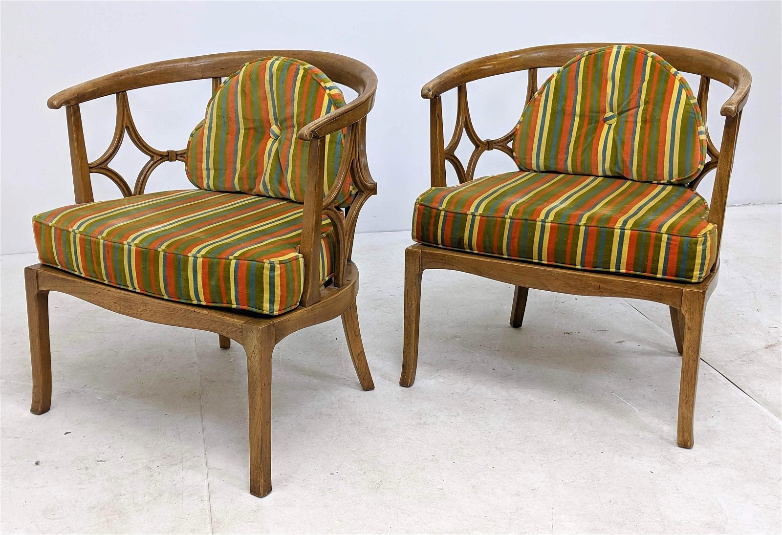 Pr Dorothy Draper Style Lounge Chairs. Barrel backed. S