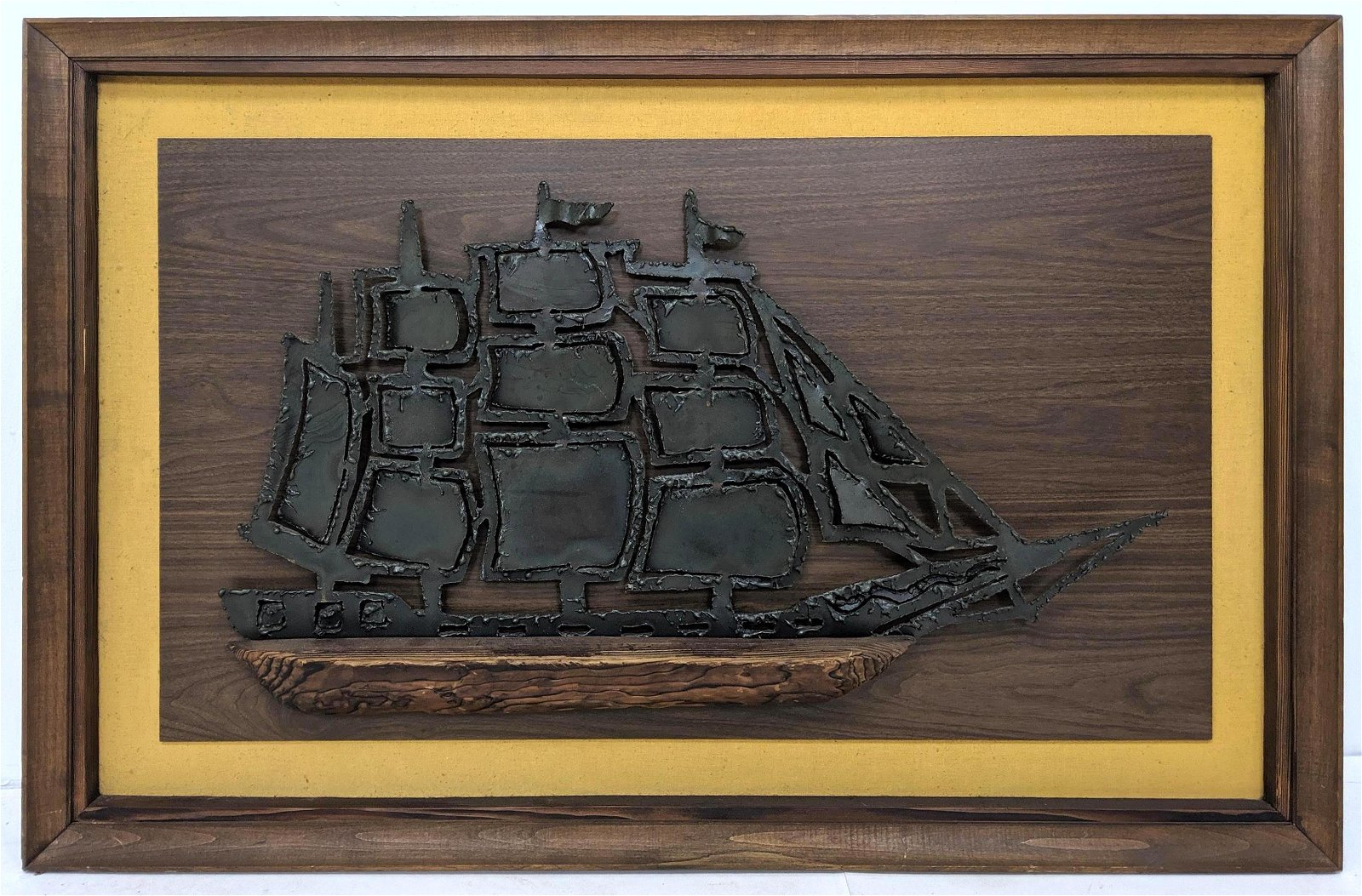WITCO Iron and Wood Sailing Ship Plaque. Mid Century Br