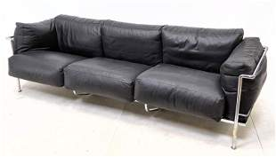 Le Corbusier style Black Leather Sofa Couch. Stylish Mo