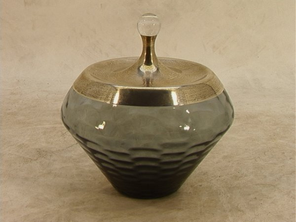 310: Gorham Sterling MODERNIST Glass covered jar. Smoke