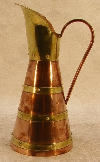311: HECTOR AGUILLAR Taxco Copper and Brass Pitcher. Ma