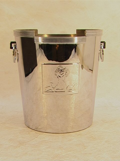 315: CHASE Rockwell Kent Ice Bucket Chrome with loop ha