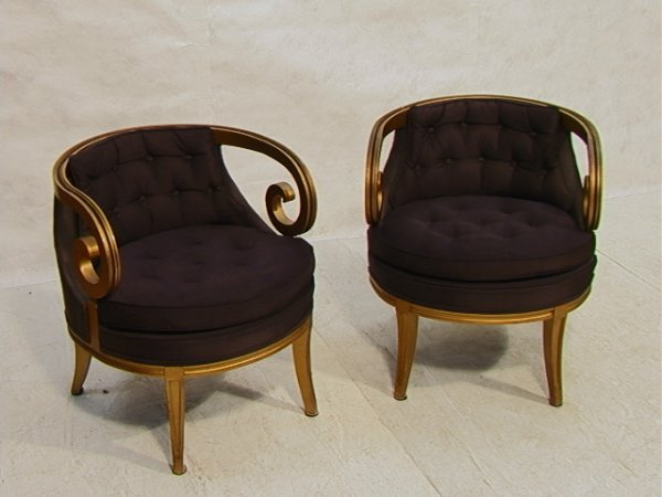 487: Pr Decorator DANIEL JONES NY Scroll Arm Chairs.  G