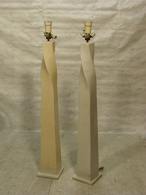 583: Pr KARL SPRINGER style Twisted Column Floor Lamps.