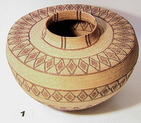 1: YOKUT Native American Indian Bottleneck Basket.