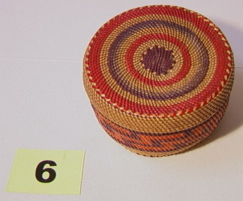 6: Small MAKAH Lidded Basket.   Dimensions:  H: 2 inche