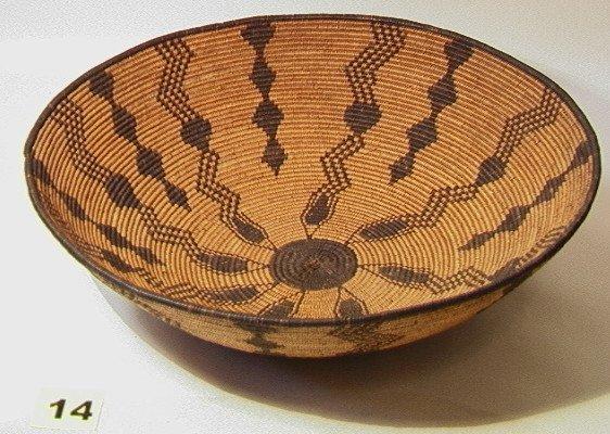 14: APACHE Bowl Snake Design American Indian Basket