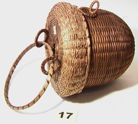 17: Splint Acorn Basket. Native American Indian Basket