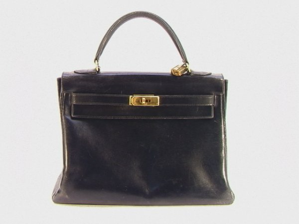 700: HERMES Vintage Black Leather KELLY BAG Purse.  All