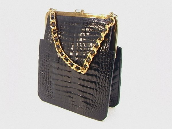 701: Black Alligator Bag Purse.  Small scale center ski