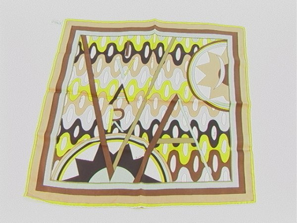 708: VIVARA Emilio Pucci Silk Hankie Scarf.  Signed.  H