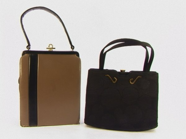711: Lot 2pcs Handbag Purses. Brown and Black Leather,