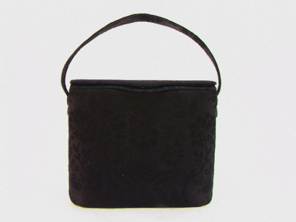 712: Nettie Rosenstein Handbag Purse. Black Jacquard Fa